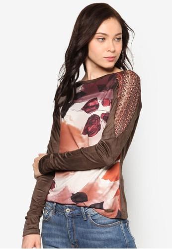 Coberta 鉤針肩飾印花長袖TEE, 服飾, esprit門市上衣
