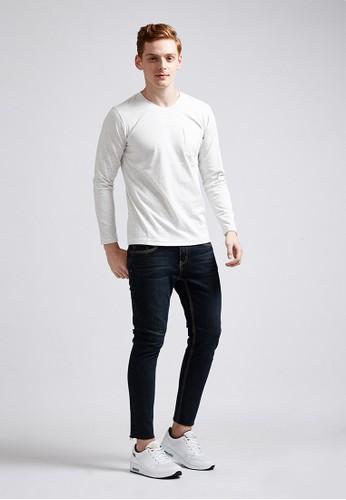 百搭休閒長袖口袋圓領T-MIT-zalora 衣服尺寸03721-麻花白, 服飾, 長袖T恤
