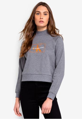 Calvin Klein grey A-Outline Monogram Sweatshirt - Calvin Klein Jeans F4EB3AA00932DCGS_1