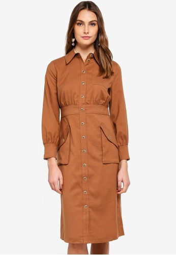 ESPRIT brown Woven Midi Dress BF259AACCE2C84GS_1