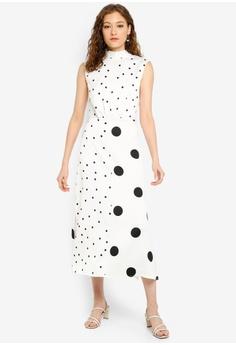 6e88444f0ec0 WAREHOUSE white Mixed Spot Midi Dress 28338AAB9AF602GS_1