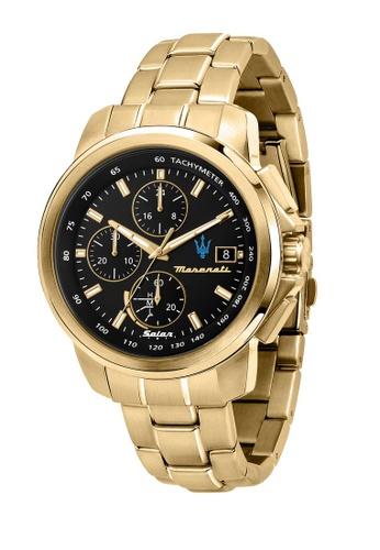 Maserati gold Maserati Successo Solar Collection 44mm Black Dial Quartz Men's Solar Watch R8873645002 0ECDCAC126E0F6GS_1