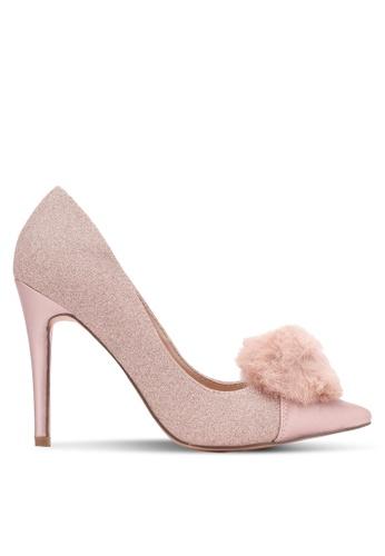 Velvet pink Pom Pom Glitter Pump Heel F4547SHFBB88D9GS_1