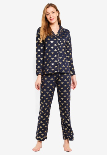 Chelsea Peers navy Gold Foil Bee All Over Print Long PJ Set With Revere Collar Shirt D094BAAB5147CEGS_1