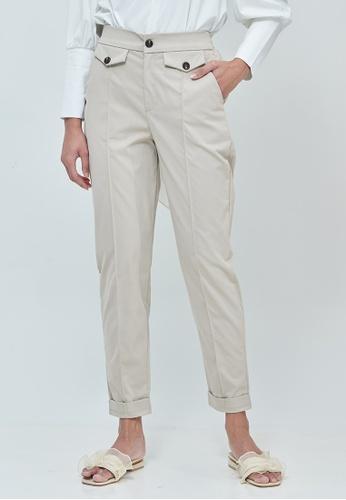 MC Vogue beige Daphne Light Beige Button Straight Pants 1F3CAAA84CE06BGS_1