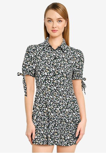 Miss Selfridge blue Petite Blue Printed Shirt Dress AF656AAF07B3D2GS_1