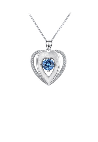 Glamorousky blue 925 Sterling Silver Fashion and Elegant Heart Pendant with Blue Cubic Zirconia and Necklace 8F7A0AC5C350D8GS_1