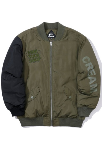 Mini cream green Slogan bomber jacket C2F0FAACC304EDGS_1