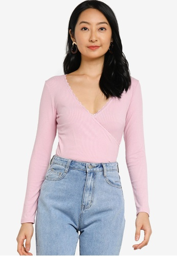 ZALORA BASICS pink Long Sleeve Lace Wrap Top 704DAAA360ED14GS_1