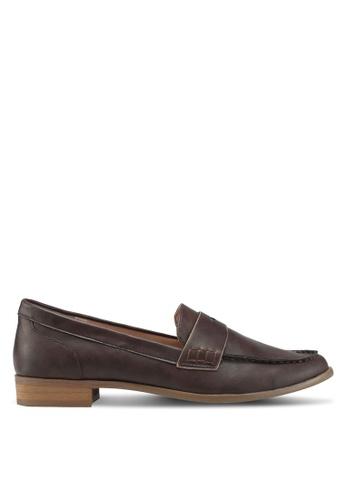 Bata 褐色 質感懶人樂福鞋 182F9SHA744F88GS_1