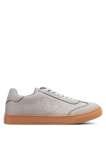 Velvet grey Side Heart Shaped Sneakers E3D14SH1BFFBD3GS_1