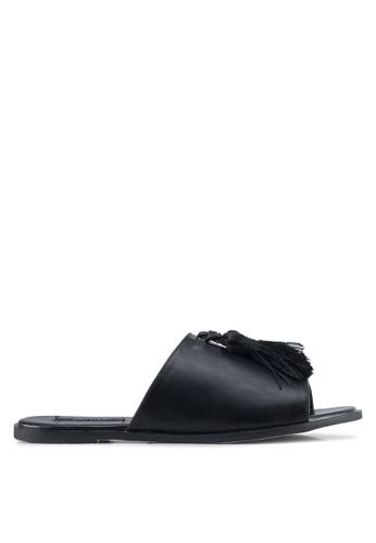 ZALORA black Faux Leather Tassel Flat Sandals 3E6B2SHBF188C2GS_1