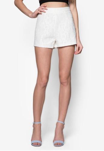 Premzalora鞋子評價ium 側拉鍊蕾絲提花短褲, 服飾, 短褲