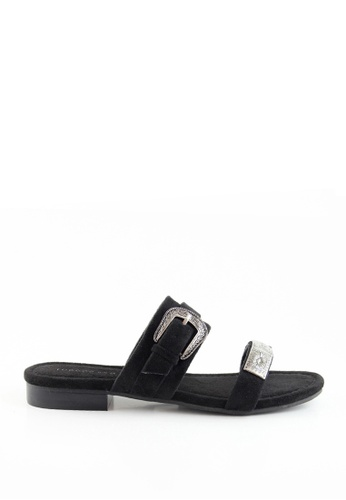 London Rag black Freida Double Strap Flat Sandals 39E5ESH6B2E670GS_1