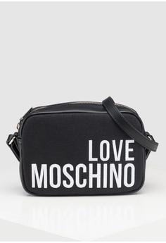 69099e04f527 Love Moschino black Canvas Sling Bag 370F1AC936F74EGS 1