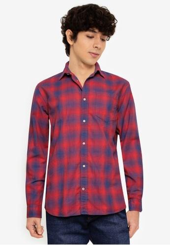 JACK & JONES blue and multi Summer Shadow Long Sleeve Shirt EAB98AA1E2AB61GS_1