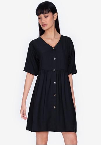 ZALORA BASICS black V-Neck Button Through Dress 0CC26AA963B0B1GS_1