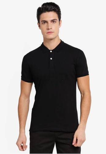 ZALORA black Pique Button Down Polo Shirt 310B7AAD1EB061GS_1
