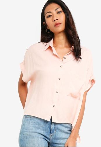 ZALORA BASICS pink Basic Oversized Shirt With Pocket F3292AAD516153GS_1