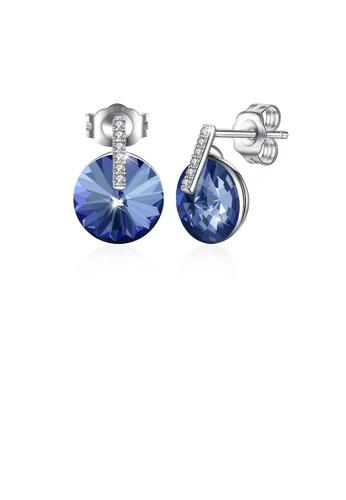 Glamorousky blue 925 Sterling Silver Simple Fashion Blue Austrian Element Crystal Geometric Round Stud Earrings AA99DAC23E9C2FGS_1