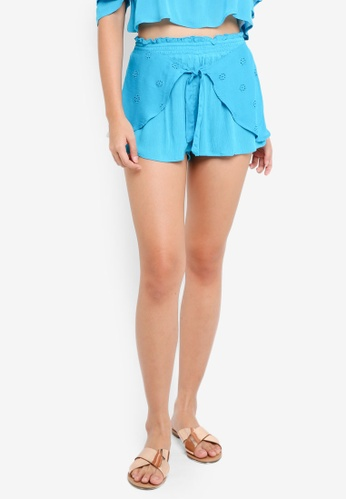 River Island blue Blue Broderie Tie Front Beach Shorts BB4B9AA5A7BE22GS_1