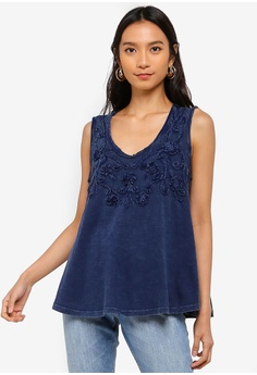 63495331036b30 Max Studio navy Woven Embroidered Tank Top 79073AA9790BBDGS 1