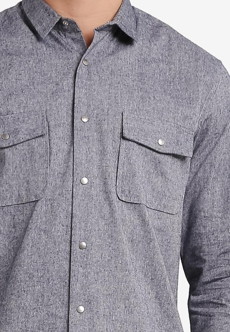Sleeve Navy Detail Long ZALORA Chambray Shirt Collar 4tqxY64
