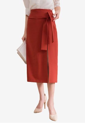 Kodz red Slender Pencil Skirt 9F8FAAAC42BA36GS_1