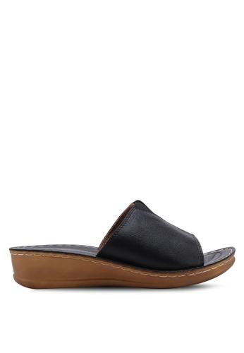 NOVENI black Casual Faux Leather Sandals 6D92BSHFF1106DGS_1