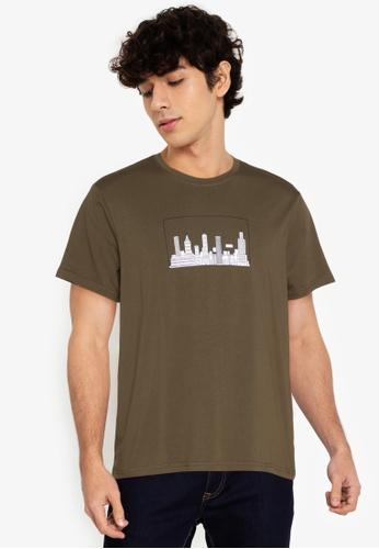 ZALORA BASICS green Cityscape T-Shirt 28474AA812F8AEGS_1