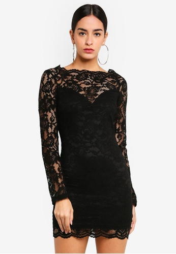 53dafab2 MISSGUIDED black Scallop Neck Long Sleeve Lace Mini Dress C247CAA945083AGS_1
