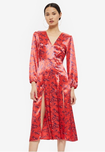 TOPSHOP red Wispy Floral Midi Dress E6720AA018EEAFGS_1