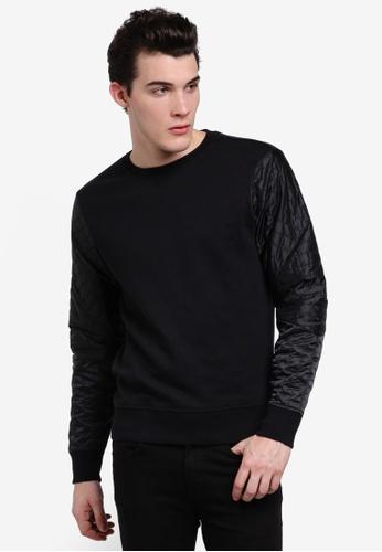Calvin Klein 黑色 Mix Fabric Sweatshirt - Calvin Klein Jeans CA221AA0RGF2MY_1