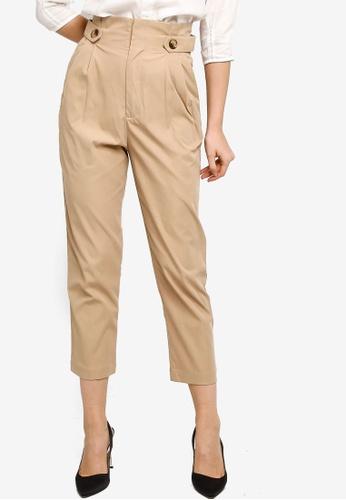 ZALORA WORK beige Button Tab Long Pants 7F0FEAA544FFCEGS_1