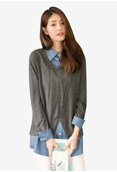 869feac6864b Tokichoi grey Pullover And Shirt Set AB46DAAE4AF17CGS 1