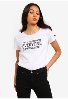 d4a18e3592b43c Calvin Klein white A-Slogan Straight Tee - Calvin Klein Jeans  9A797AAFE7368CGS 1