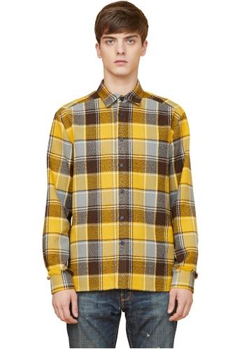 MILLOGREM yellow Wool Fringe Heavy Check Shirts MI241AA0GE67SG_1