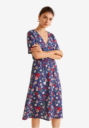 Mango blue Flower Dress 9EE6AAAE285917GS_1