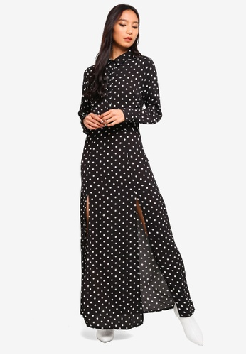 MISSGUIDED black Polka Dot Front Split Maxi Dress BFDFCAA70184CDGS_1