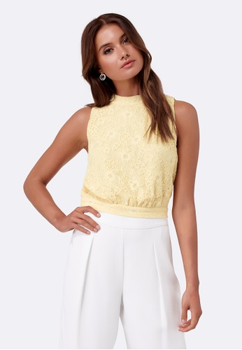 Forever New yellow Elaina Lace Tie Back Tank 517A0AA05C9349GS_1