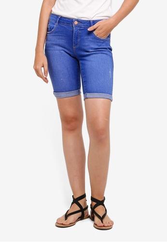 Dorothy Perkins blue Petite Bright Blue Knee Shorts 87E31AA2A06786GS_1