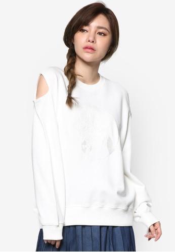 刺繡玫瑰esprit香港門市花挖肩長袖衫, 服飾, 外套