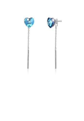 Glamorousky blue 925 Sterling Silver Elegant Fashion Simple Sparkling Heart Shape Earrings with Blue Austrian Element Crystal 1AAE9AC687DADEGS_1