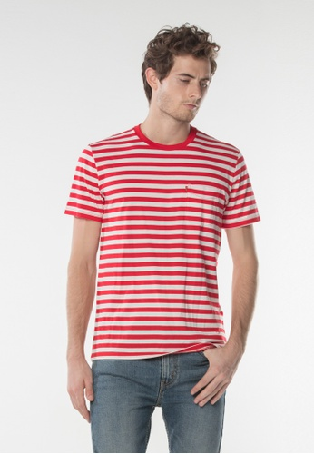 Levi's white and red Levi's Sunset Pocket Tee (Striped) A13EFAAE53E5D5GS_1