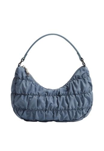Mango blue Ruched Baguette Bag 56E7DACE78DCD7GS_1