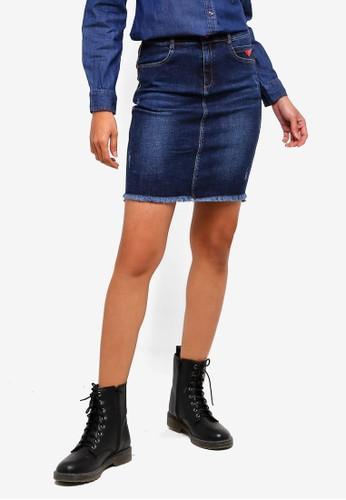 Hopeshow blue Denim Mini Skirt 4198AAAF21319BGS_1