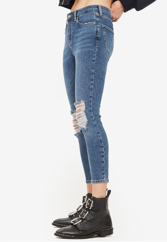 TOPSHOP blue Petite High Waisted Ripped Jamie Jeans 8F3AFAADD640ECGS_1