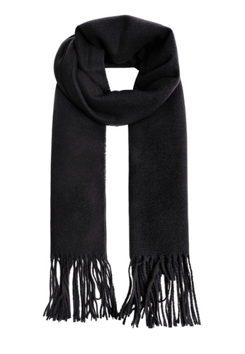 Mango black Fringed Edge Wool-Blend Scarf 5287DACEA2D900GS_1
