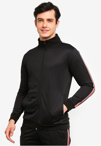 OVS black Sweatshirt With Zip And Striped Bands 0BC0CAA982F53EGS_1