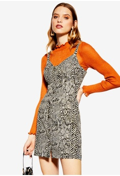 143973623 TOPSHOP multi Snake Print Denim Bodycon Dress 269C2AA4E4EFCDGS 1